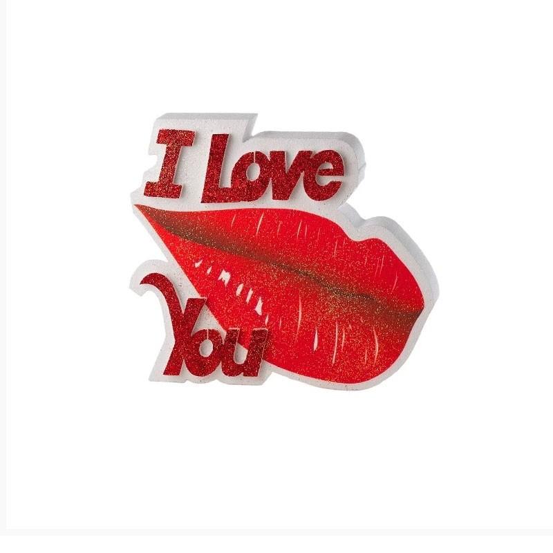 decorazione in polistirolo I love you bocca PD37 32 x 24 x 5 cm