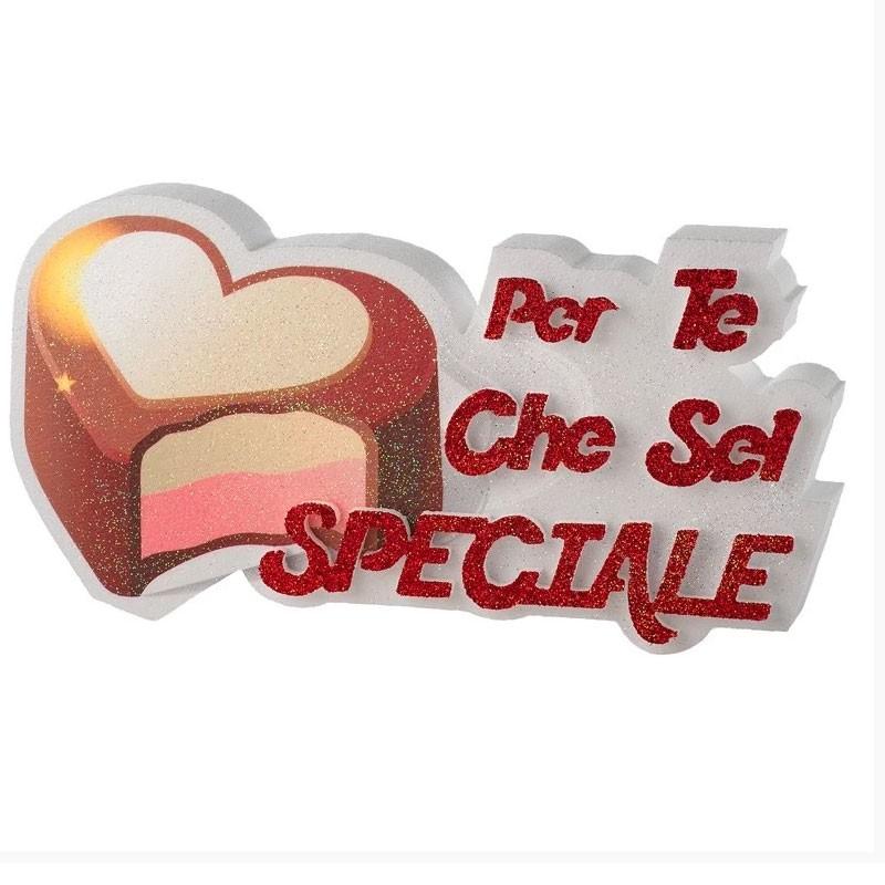 decorazione in polistirolo per te che sei speciale con cuore PD30 35 x 18 x 5 cm