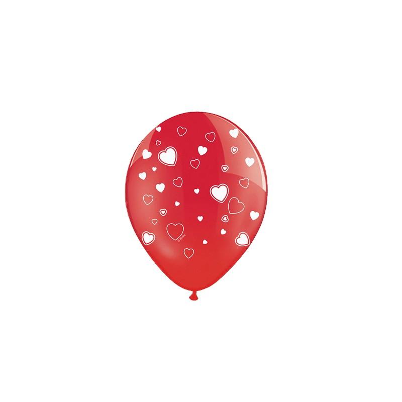 6 Palloncini Rossi Con Stampa Cuori per San Valentino SB14C-099-007J-6
