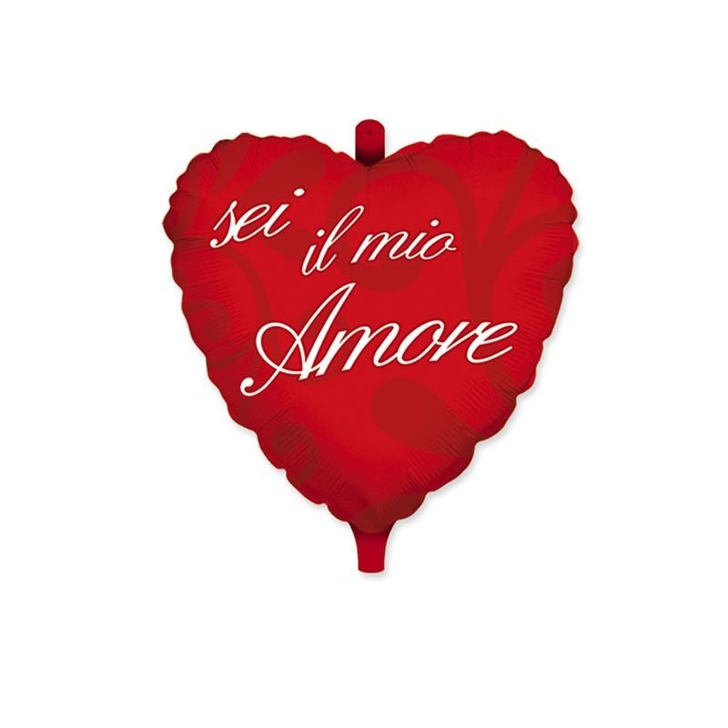 Palloncino mylar cuore rosso con scritta sei il mio amore ed orsetto 18 45 cm 61508