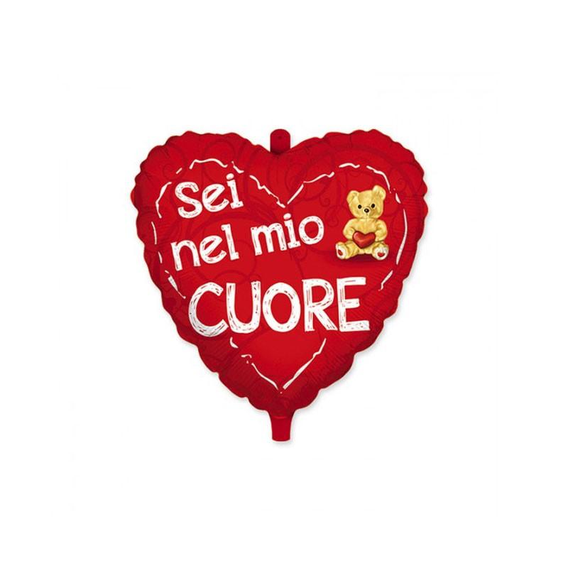Palloncino mylar cuore rosso con scritta Sei nel mio cuore ed orsetto 18 45 cm 61512