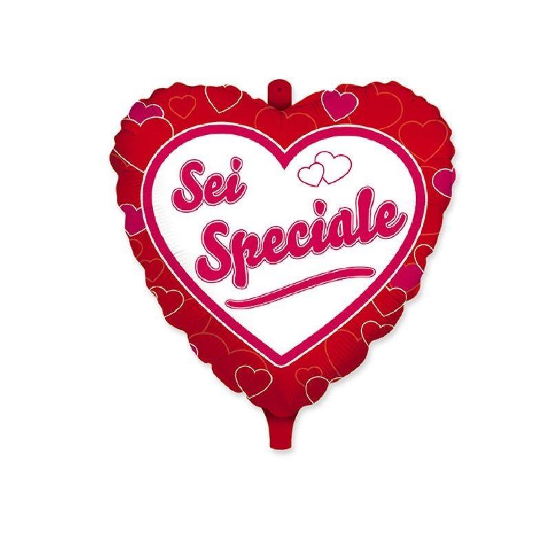 Palloncino mylar cuore rosso con scritta sei speciale ed orsetto 18 45 cm 61507