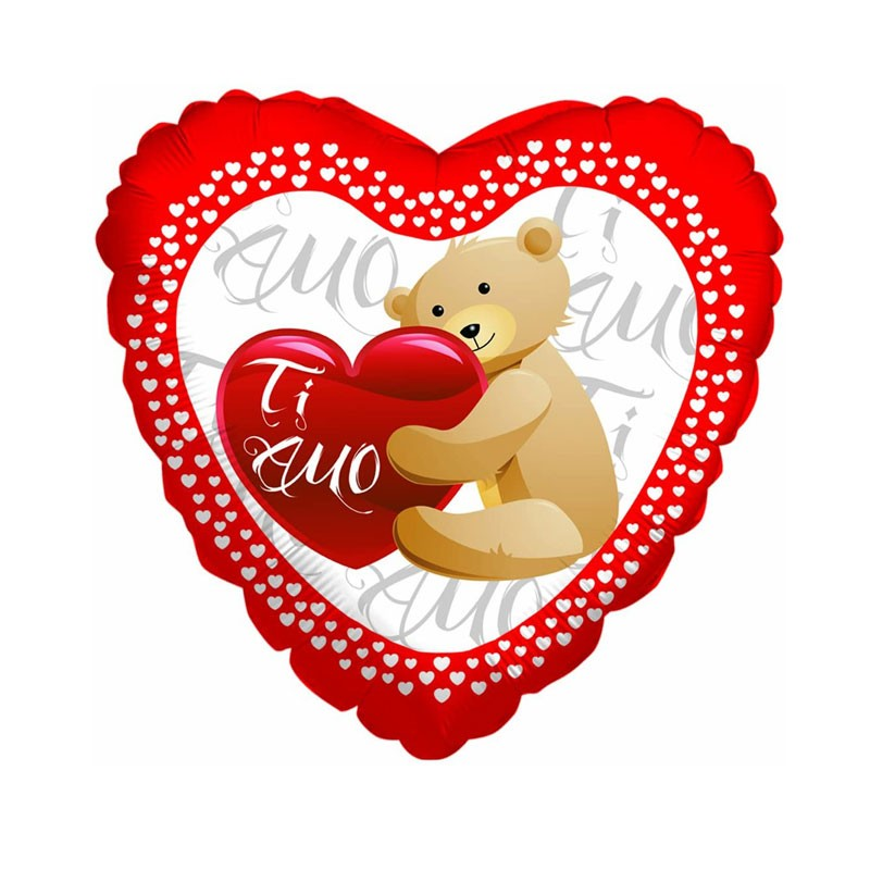 Palloncino mylar cuore rosso con scritta ti amo ed orsetto 18 45 cm 61500
