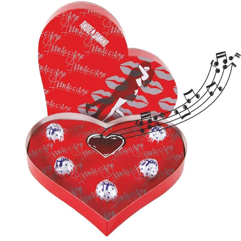 Scatola Cuore musicale con baci Perugina Andrea Sannino abbracciame
