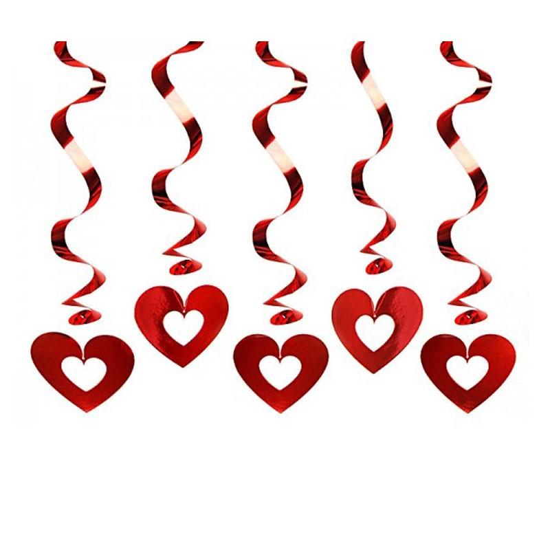 Set 5 pezzi Festoni Cuori Pendenti San Valentino Red Metallic Swirls 60 cm SWID5