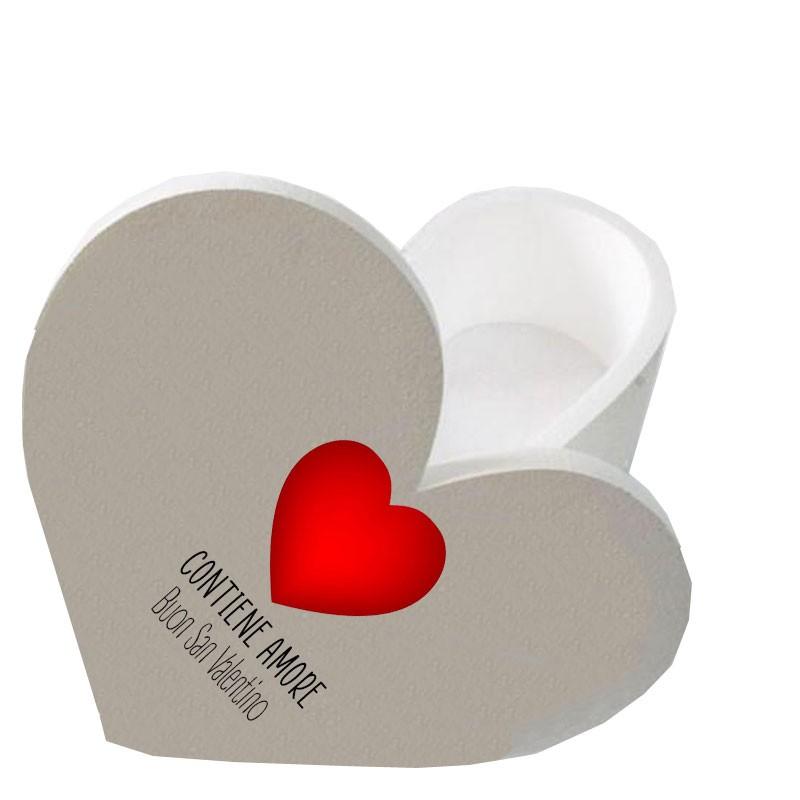scatola polistirolo a forma di cuore con scritta contiene amore buon san valentino 30 x 25 x 17,5 h cm