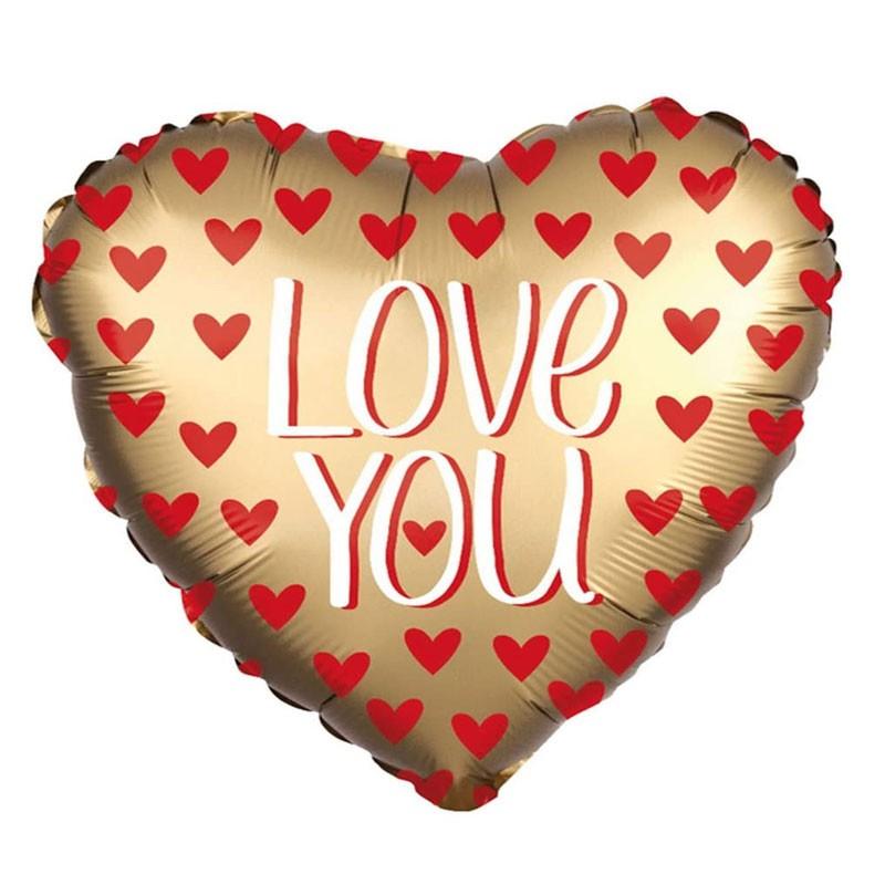 Palloncino a cuore Foil 42 cm Satinato Love You Gold 3873401