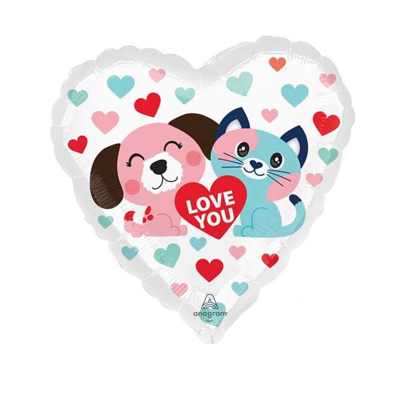 Palloncino a cuore pet love con cane, gatto e cuoricini 4226301 17\'\' 43 cm