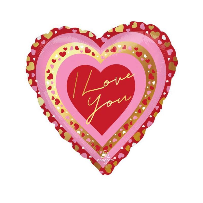 Palloncino a cuore rosso con scritta i love you 43 cm 4228101