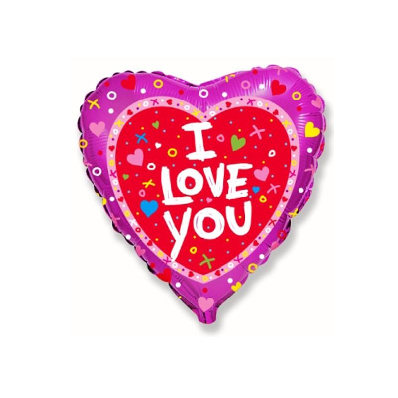 Palloncino foil I love you + confetti 45 cm 18\'\' 201669
