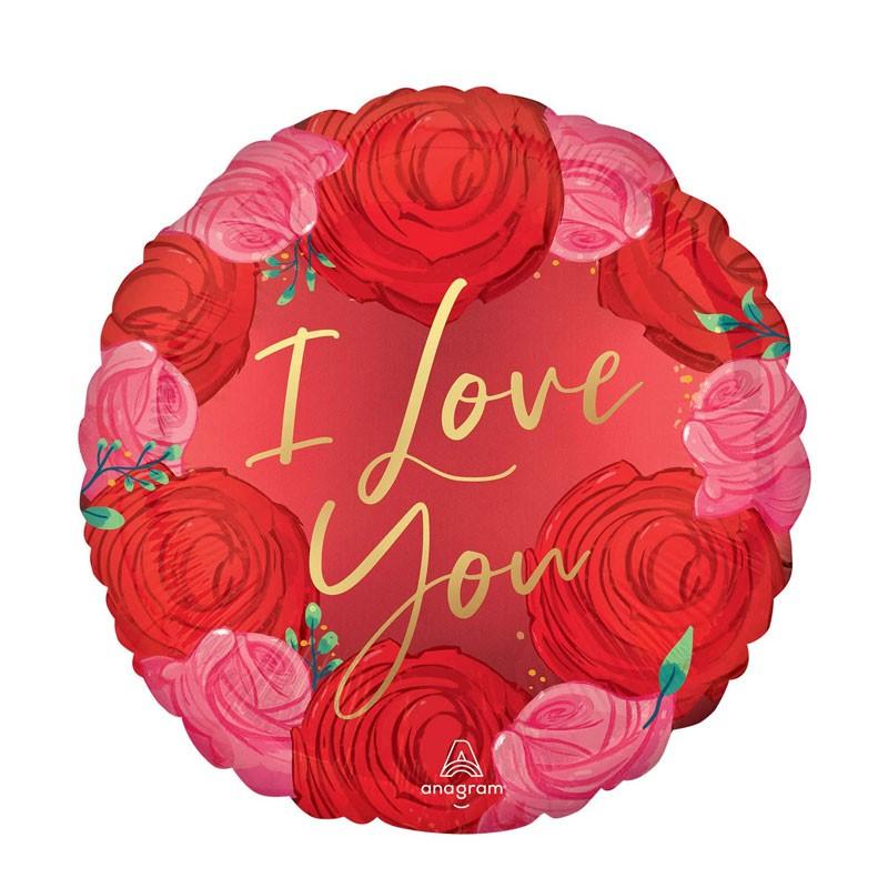 Palloncino Foil tondo 18 \'\' 45 cm rosso con rose e scritta oro i love you 4226401