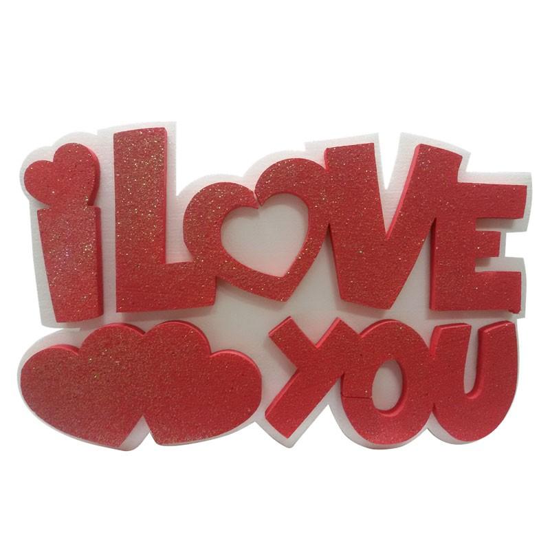 Decorazione Polistirolo I love you rosso con cuori 37 x 30 x 5 cm