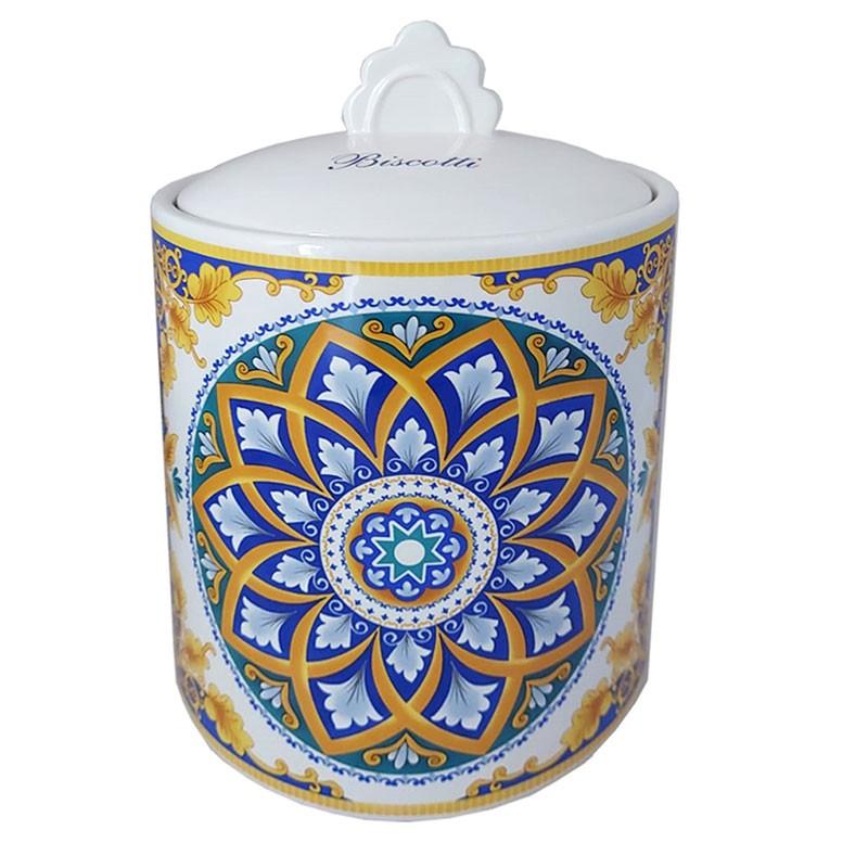 Biscottiera in ceramica con motivo maioliche positano 82020