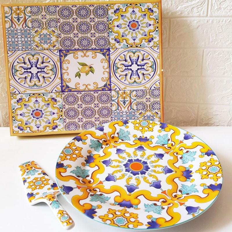 piatto porcellana con paletta stile maioliche 60002