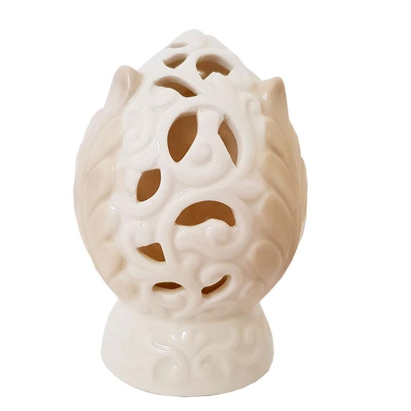 Pomo in ceramica beige con foglie decorative S1954 12x8 cm