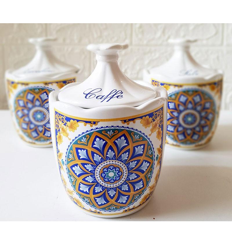 set 2 barattoli bassi zucchero caffè in ceramica maioliche positano 82025