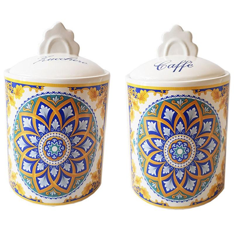 set 2 barattoli zucchero caffè in ceramica stile maioliche positano 82019