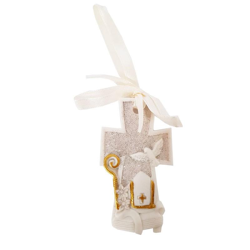 croce decorativa per bomboniere in resina 26458F 8 cm 12 pz