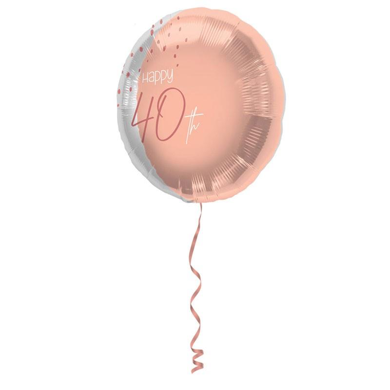 Pallonino foil 18  45 cm Happy 40th Elegant Lush Blush rosa e argento 40 anni 67740