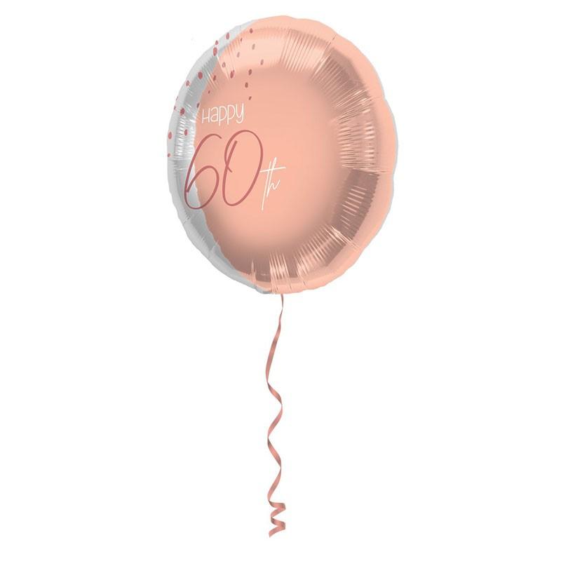Pallonino foil 18  45 cm Happy 60th Elegant Lush Blush rosa e argento 60 anni 67760