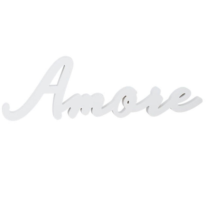 Scritta AMORE In Legno Bianco 55.5x17x2.5 Cm per allestimentii matrimonio 28814