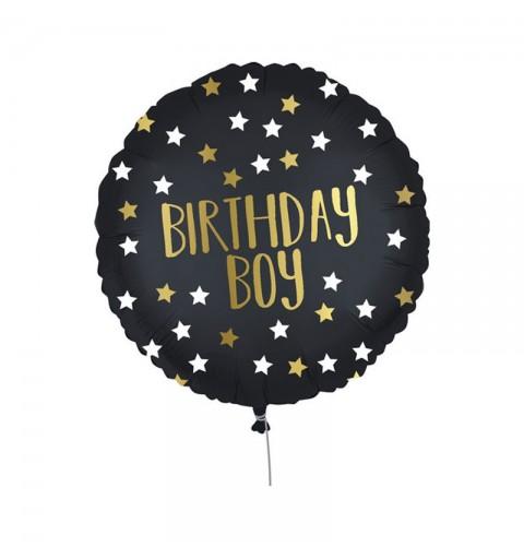 Pallone foil 18  45 cm birthday boy nero oro 0502020
