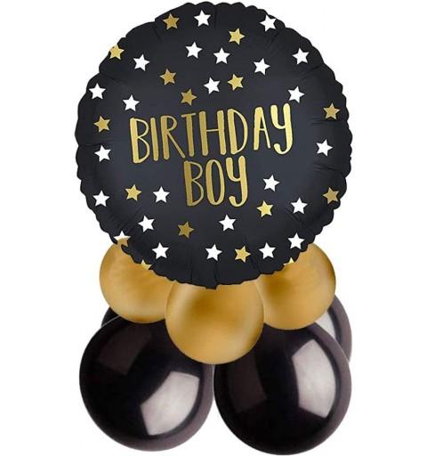 Centrotavola palloncini compleanno nero e oro maschio