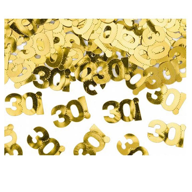 coriandoli confettti metallici numero 30 dorato 1 x 2 cm 15 g KONS35-30-019ME