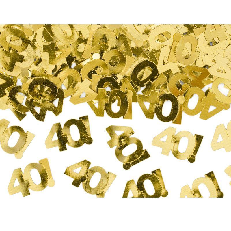 coriandoli confettti metallici numero 40 dorato 1 x 2 cm 15 g KONS35-40-019ME