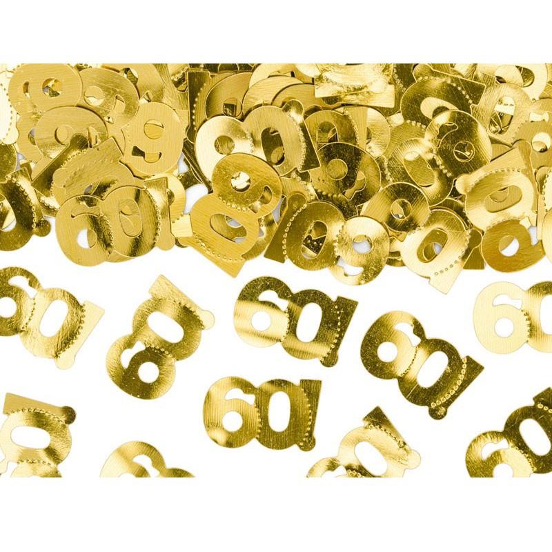 coriandoli confettti metallici numero 60 dorato 1 x 2 cm 15 g  KONS35-60-019ME