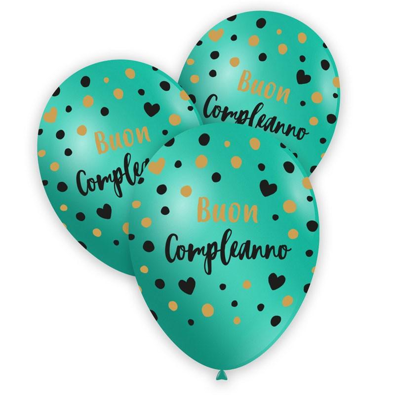 100 palloncini 12/13 Acqua marina stampa nero e oro globo Buon Compleanno GSMD120 GLO-988832
