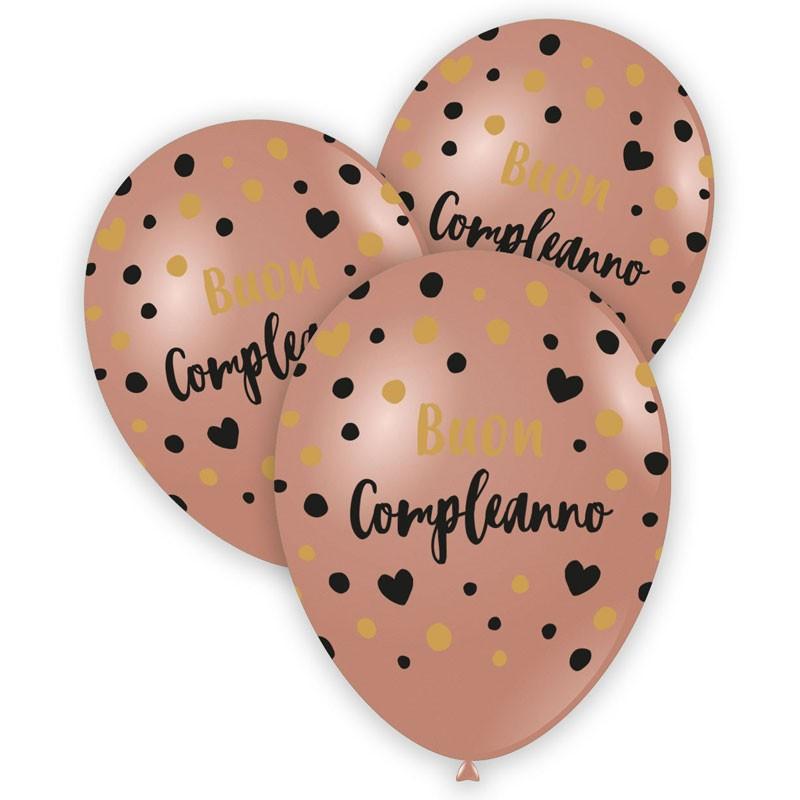 100 palloncini 12/13 Rosa Gold stampa nero e oro globo Buon Compleanno GSMD120 GLO-988849