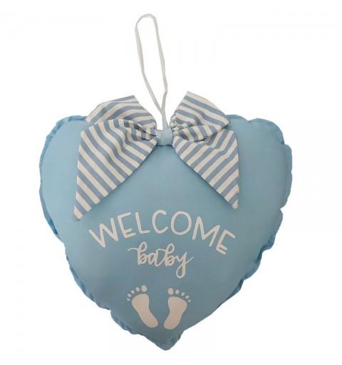 Decorazione fuori porta nascita cuore celeste welcome baby con fiocco a strisce 23 x 23 cm