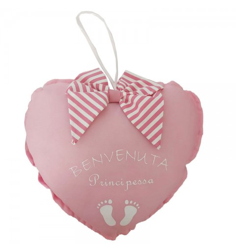Decorazione fuori porta nascita cuore rosa benvenuta principessa con fiocco a strisce 23 x 23 cm