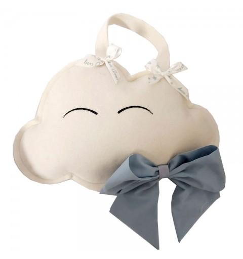 Decorazione fuori porta nascita nuvoletta con fiocco ceelste 30 x 20 cm