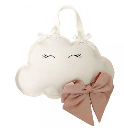 Decorazione fuori porta nascita nuvoletta con fiocco rosa 30 x 20 cm