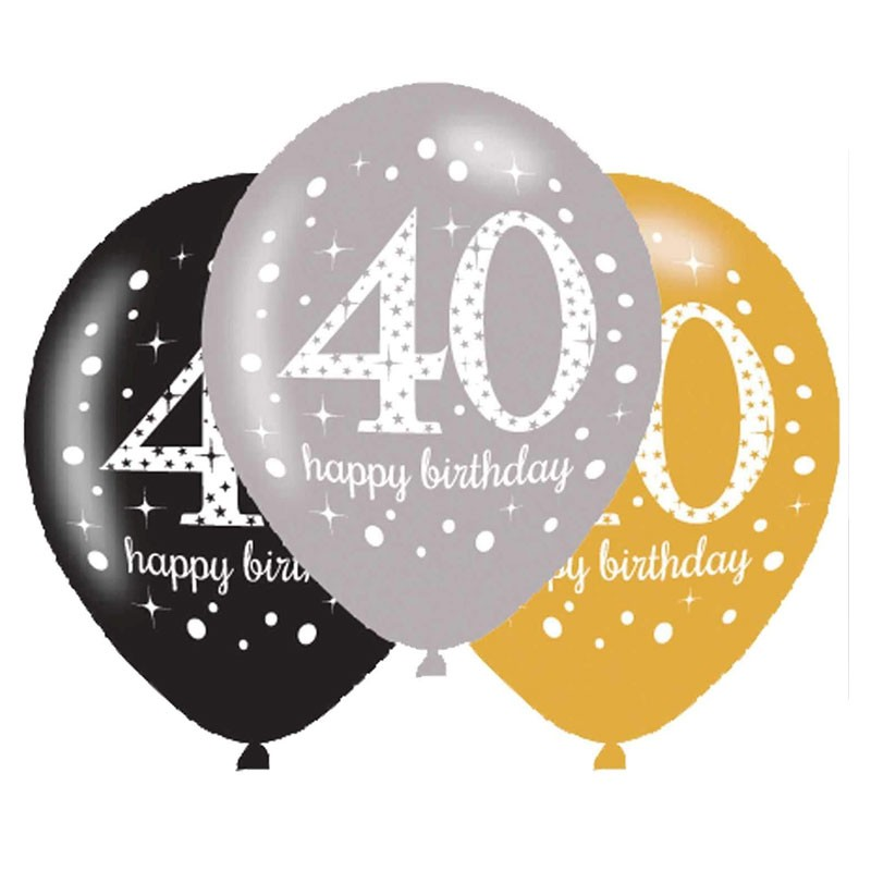Palloncini 11 - 27 cm Sparkling Celebrations 40 anni 6 pz. 718504
