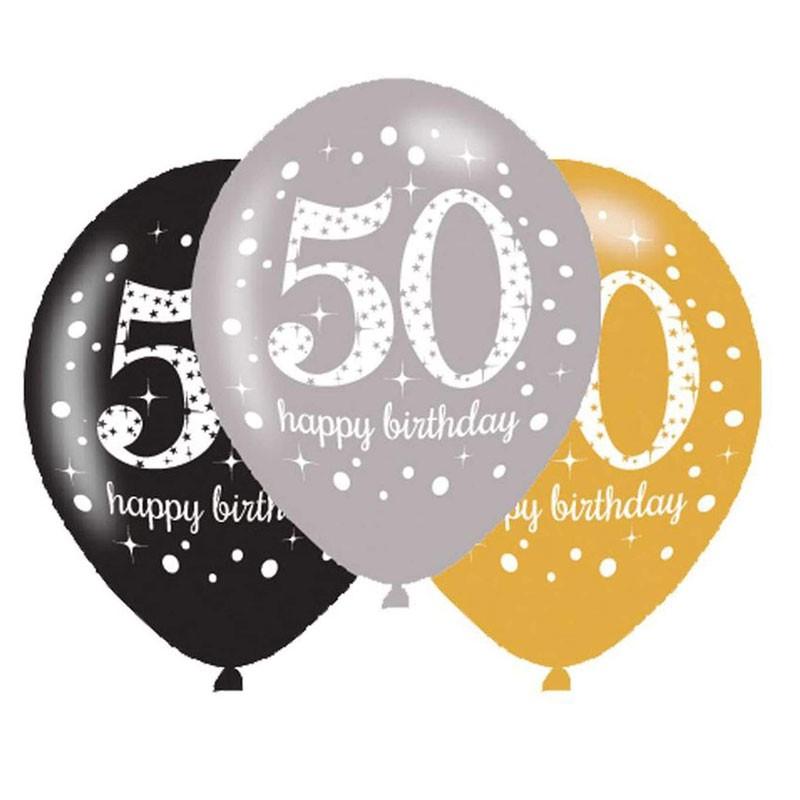 Palloncini 11 - 27 cm Sparkling Celebrations 50 anni 6 pz. 718504
