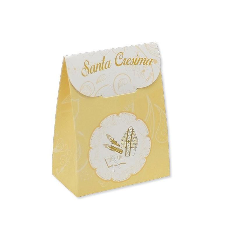 25 Scatoline portaconfetti sacchetto  in carta 6 x 8 x 3,5 cm La Mia Cresima 81693