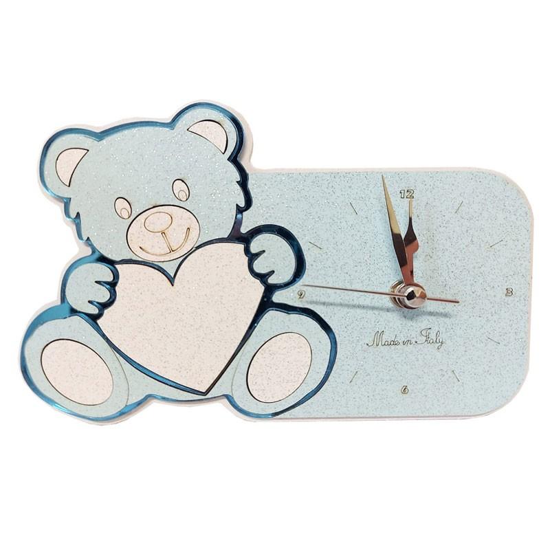 Orologio orsetto celeste 17 x 12 cm 640X246 in scatola regalo