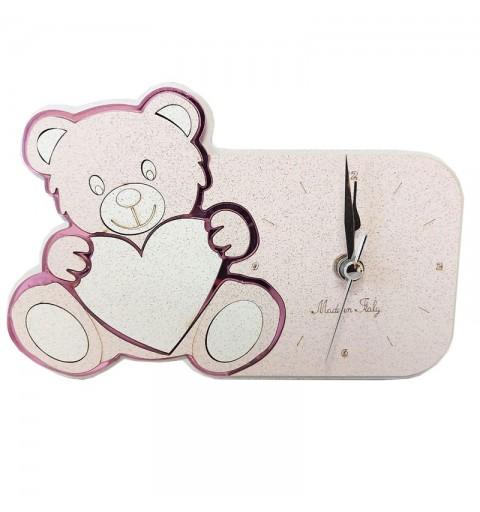 Orologio orsetto rosa 17 x 12 cm 640X245 in scatola regalo
