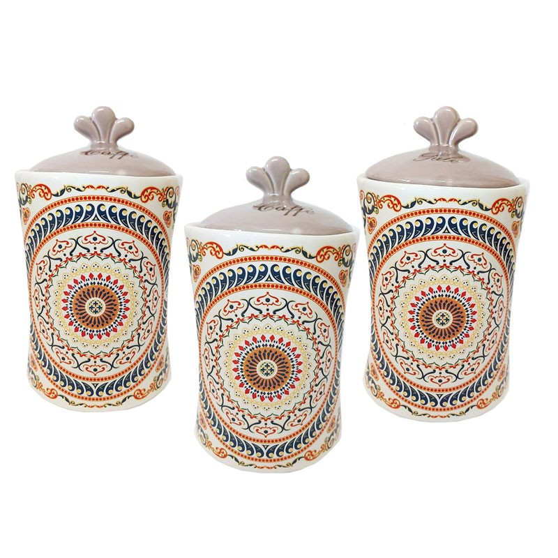 tris barattoli zucchero caffè sale in ceramica decorazione maioliche greca 82057
