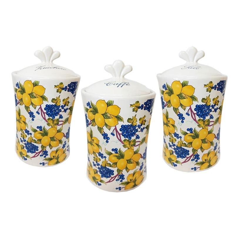 tris barattoli zucchero caffè sale in ceramica decorazione maioliche limoni  82048