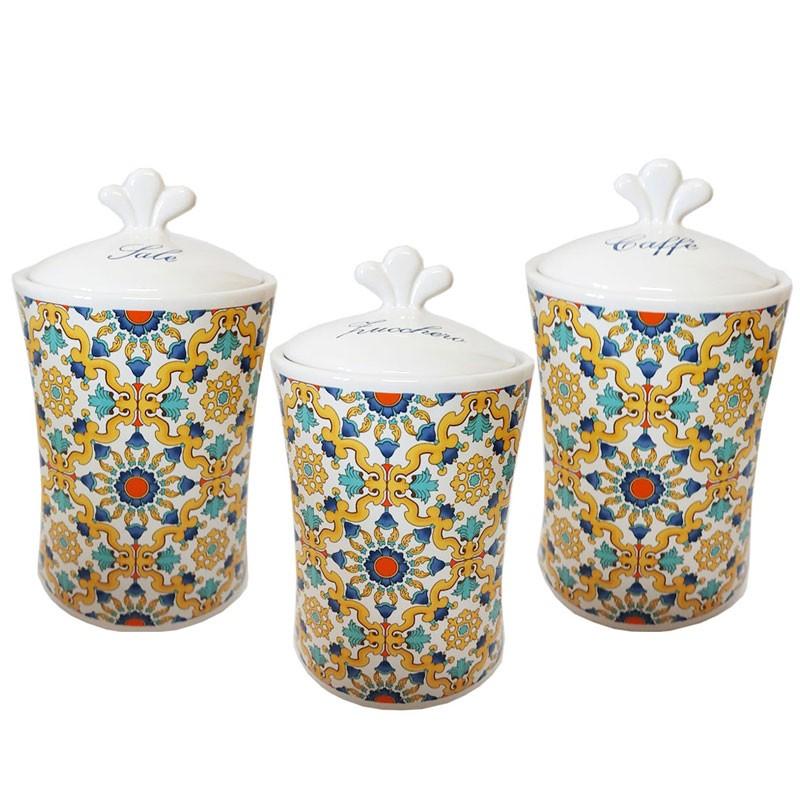 tris barattoli zucchero caffè sale in ceramica decorazione maioliche ravello 82067