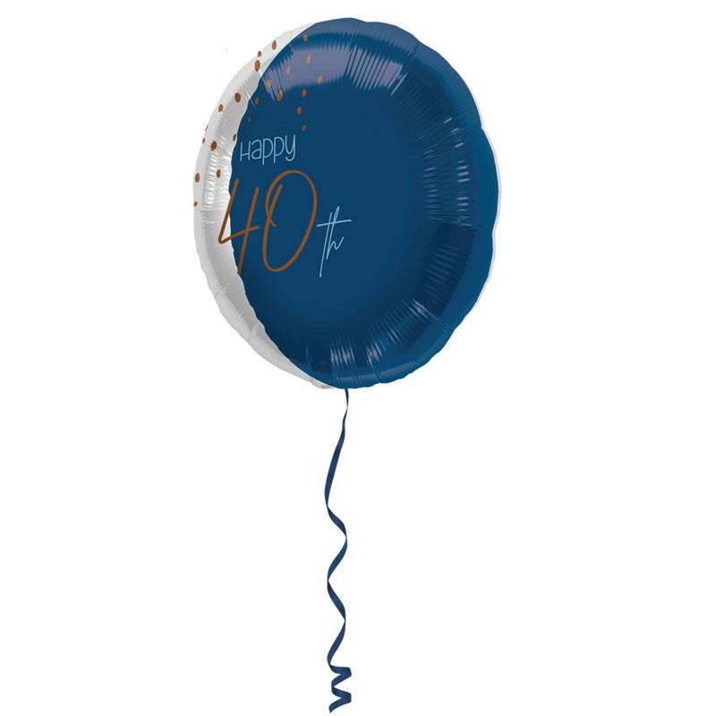 Palloncino Foil tondo Elegant True Blue 40 Anni 45 cm 66740