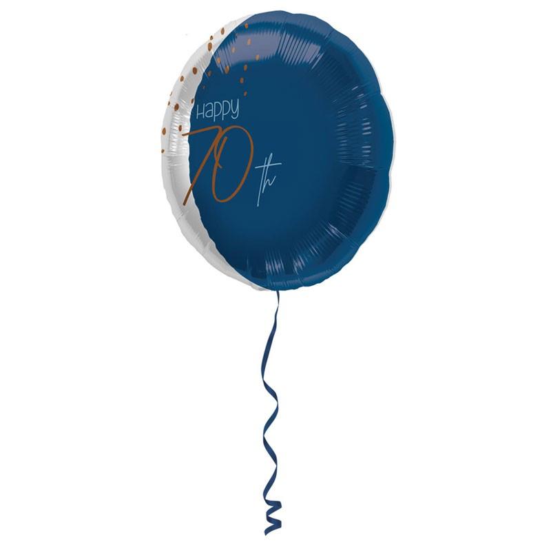 Palloncino Foil tondo Elegant True Blue 70 Anni 45 cm 66770