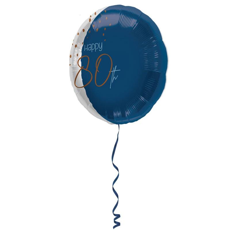 Palloncino Foil tondo Elegant True Blue 80 Anni 45 cm 66780