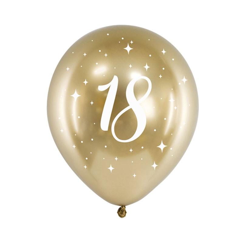 Palloncini lucidi oro stampa bianca 18 anni 30 cm 6 pz CHB14-1-18-019-6