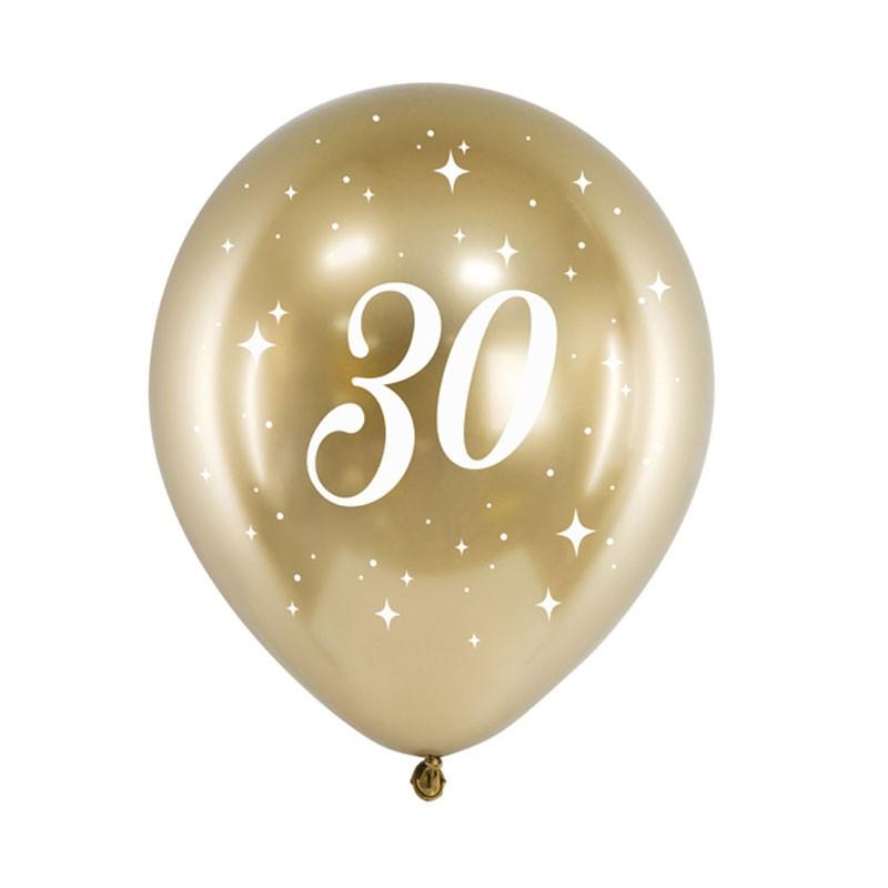 Palloncini lucidi oro stampa bianca 30 anni 30 cm 6 pz CHB14-1-30-019-6