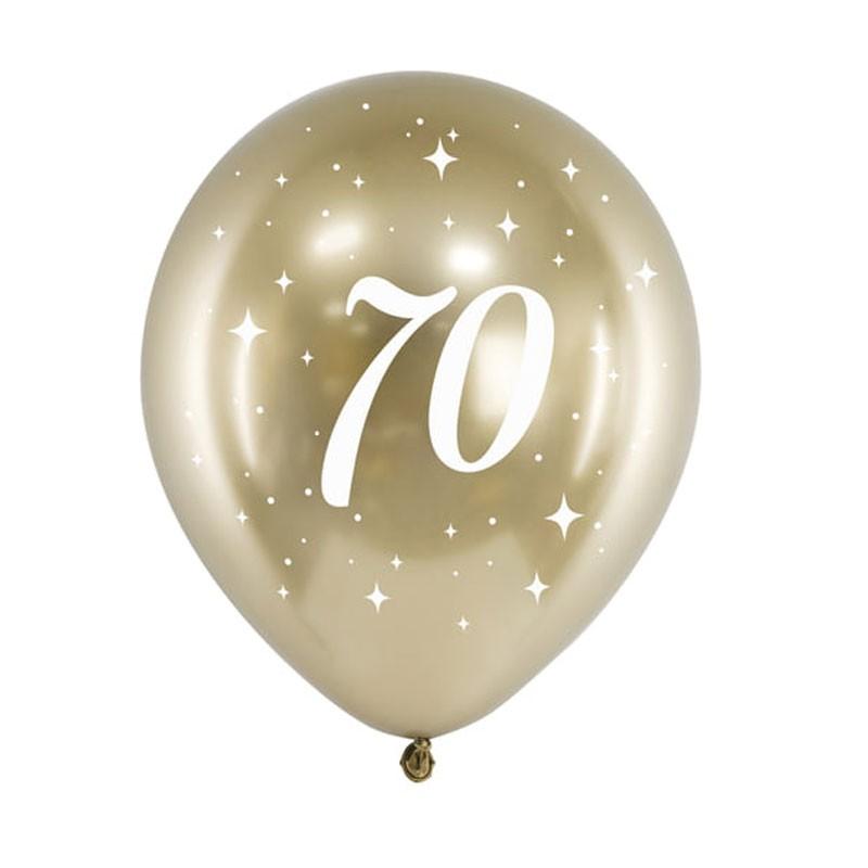 Palloncini lucidi oro stampa bianca 70 anni 30 cm 6 pz CHB14-1-70-019-6